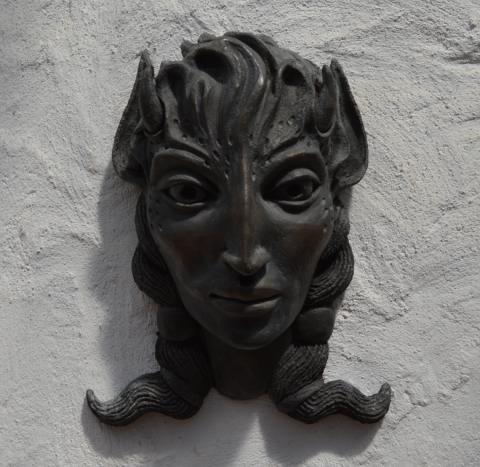 bronze faun head