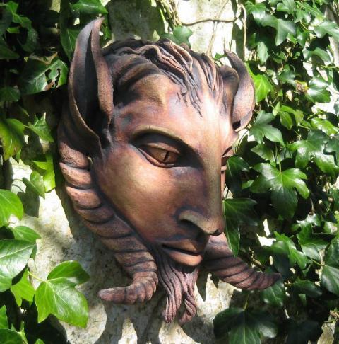 a horned head